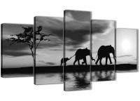 Extra Large Black White African Sunset Elephants Canvas ...