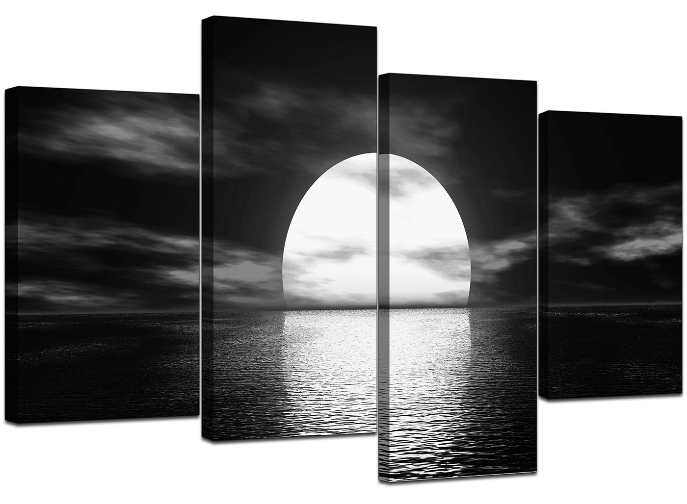black sofa cheap beds perth and white canvas - ocean sunset wall art