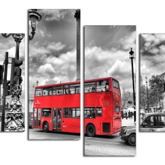 Red Teal Yellow Living Room Curtain Sets City London Canvas Prints Of Bus In Black & White For ...
