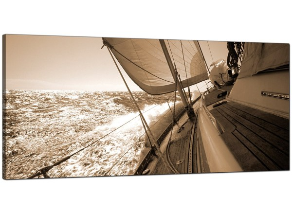 Large Brown Canvas Wall Art Of Sailing Boat