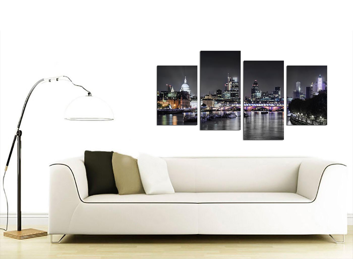 sofa bed cheap london real leather sofas for sale canvas wall art of skyline your living room - 4 ...