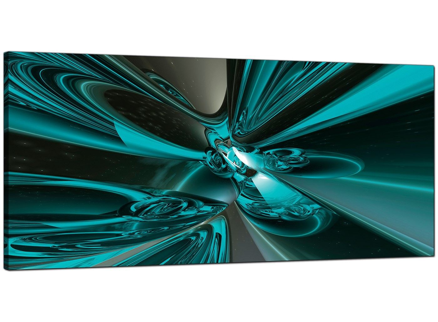 Teal Abstract Canvas Pictures 120cm X 50cm Beham