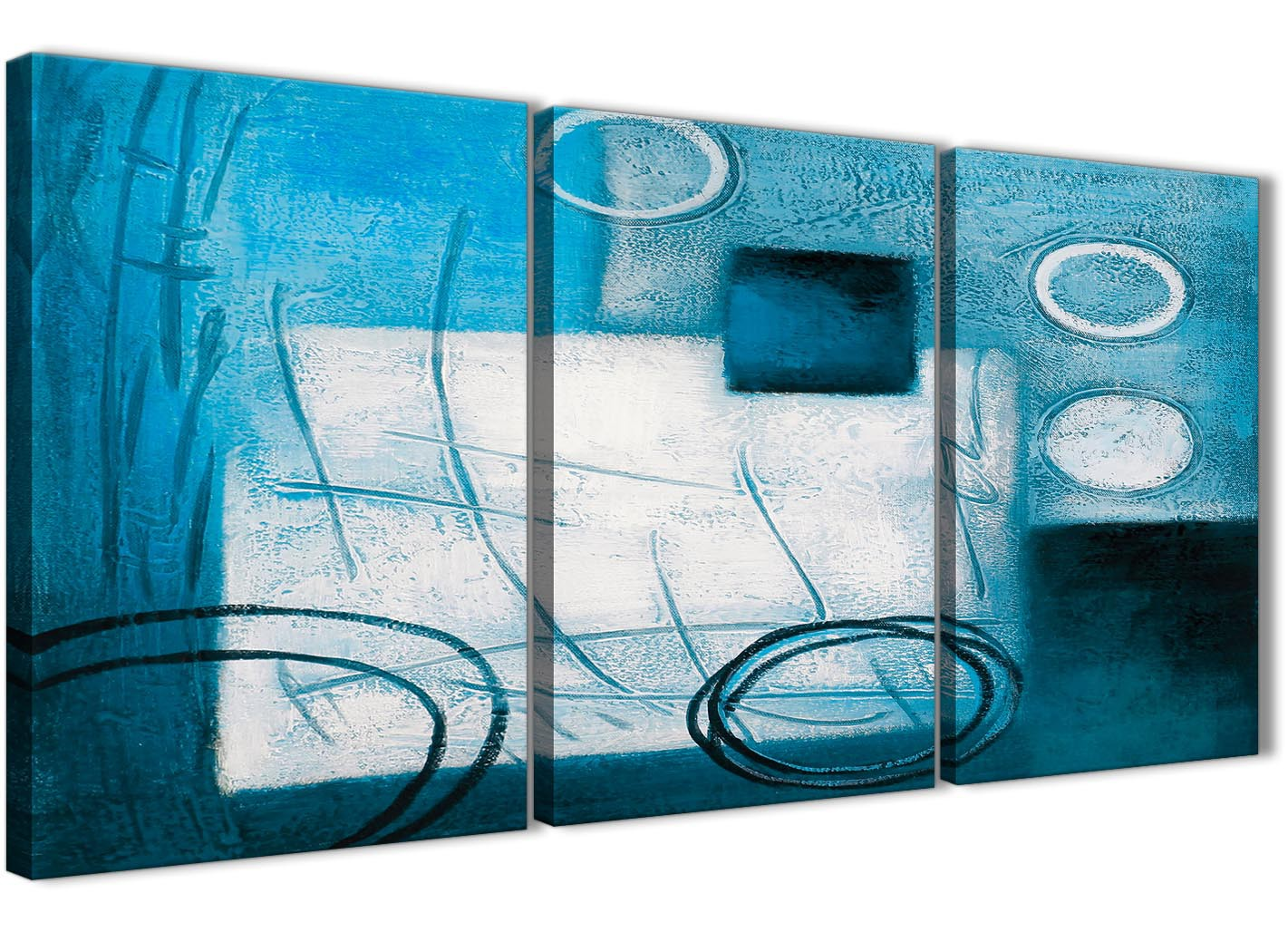 3 Piece Teal White Painting Kitchen Canvas Pictures Accessories Abstract 3432 126cm Set Of
