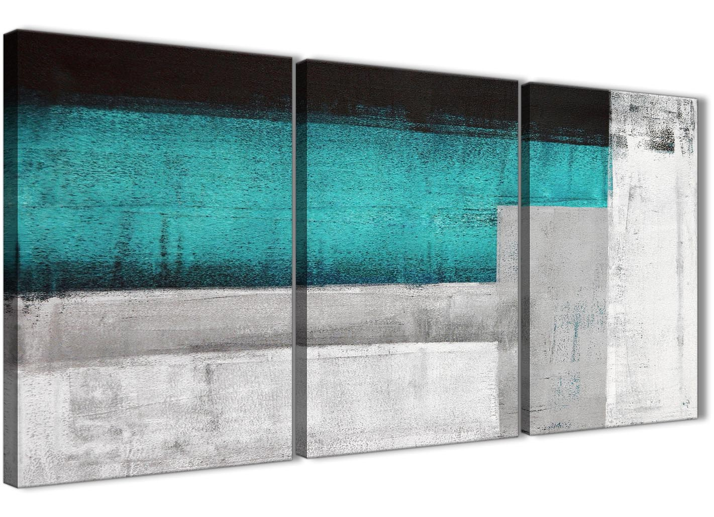 turquoise kitchen decor exhaust fan for 3 panel teal grey painting office canvas wall ...