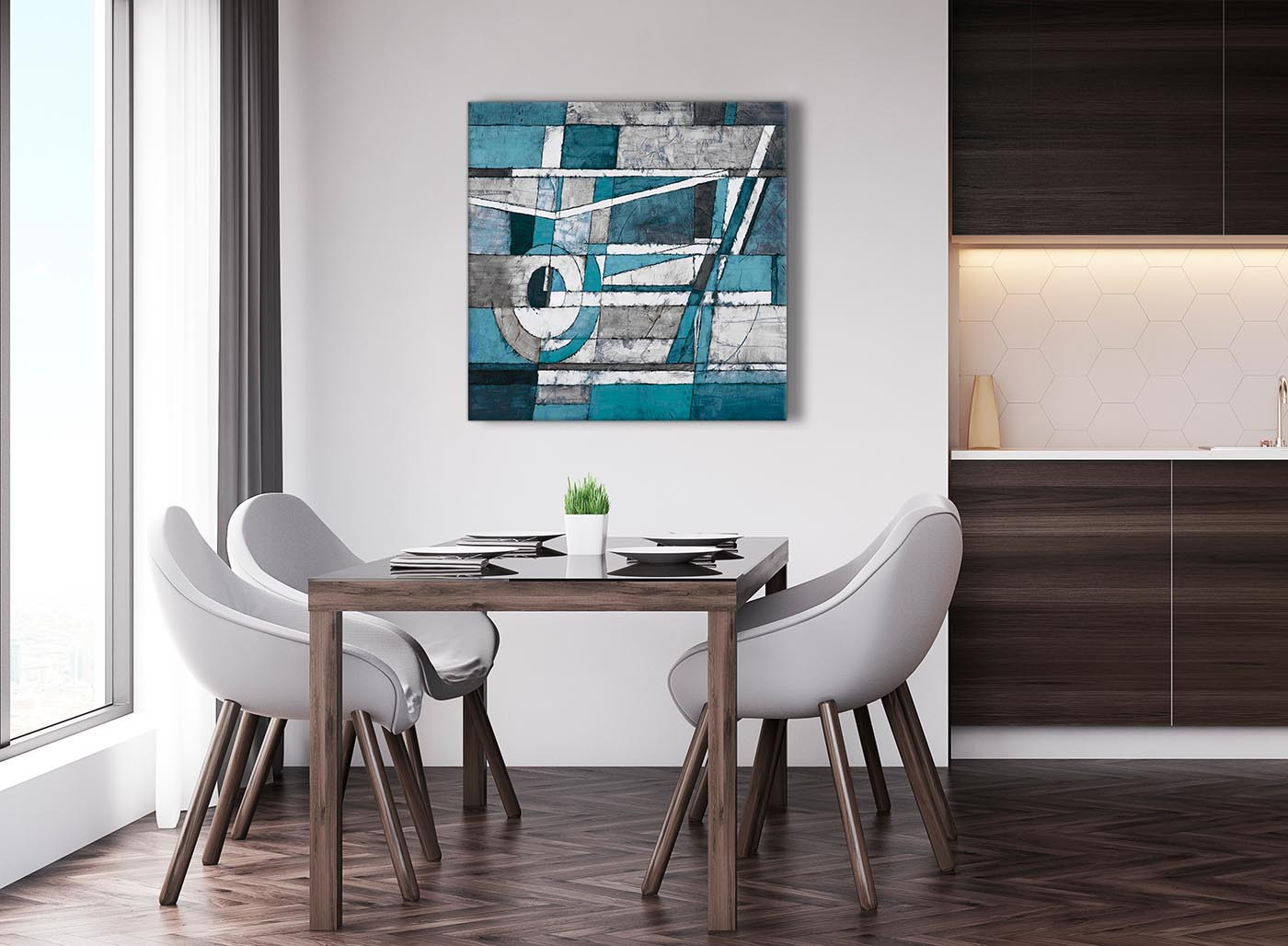 Teal Grey Painting Abstract Dining Room Canvas Pictures