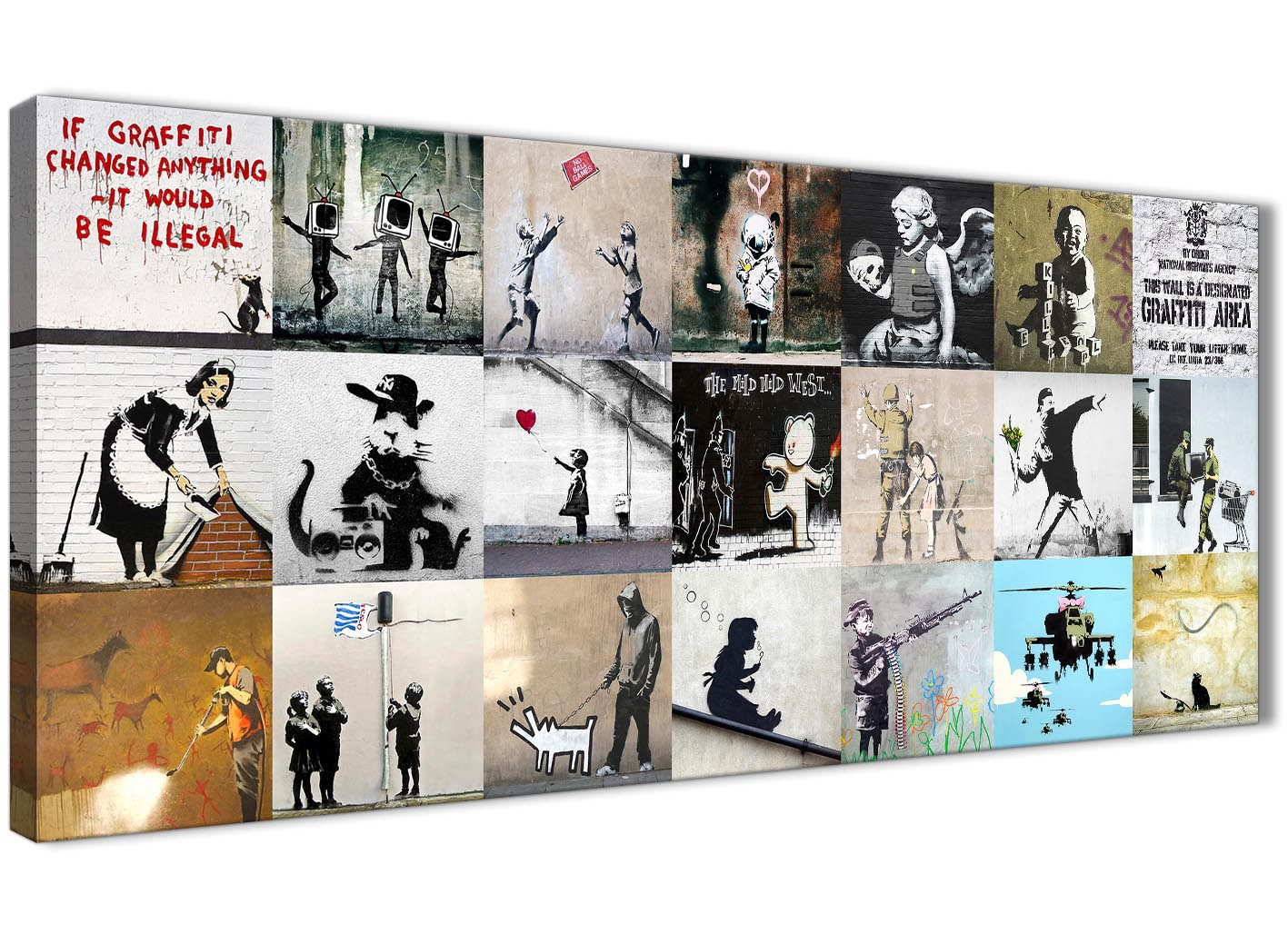 Banksy Graffiti Collage Canvas Wall Art Modern 120cm Wide