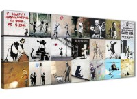 Banksy Graffiti Collage Canvas Wall Art Modern 120cm Wide ...