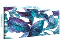 Turquoise and White Tropical Leaves Canvas Wall Art Prints ...