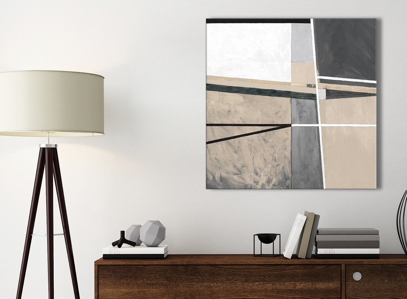 Beige Cream Grey Painting Bathroom Canvas Wall Art