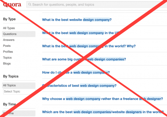 Do not do this when looking for web design agencies