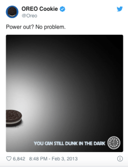 Oreo Super Bowl tweet; real-time marketing