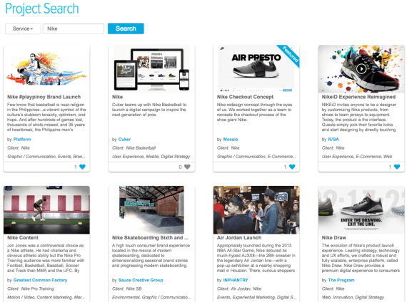 Do a nike project search on Agency Spotter