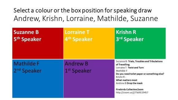 colour coded speaker order