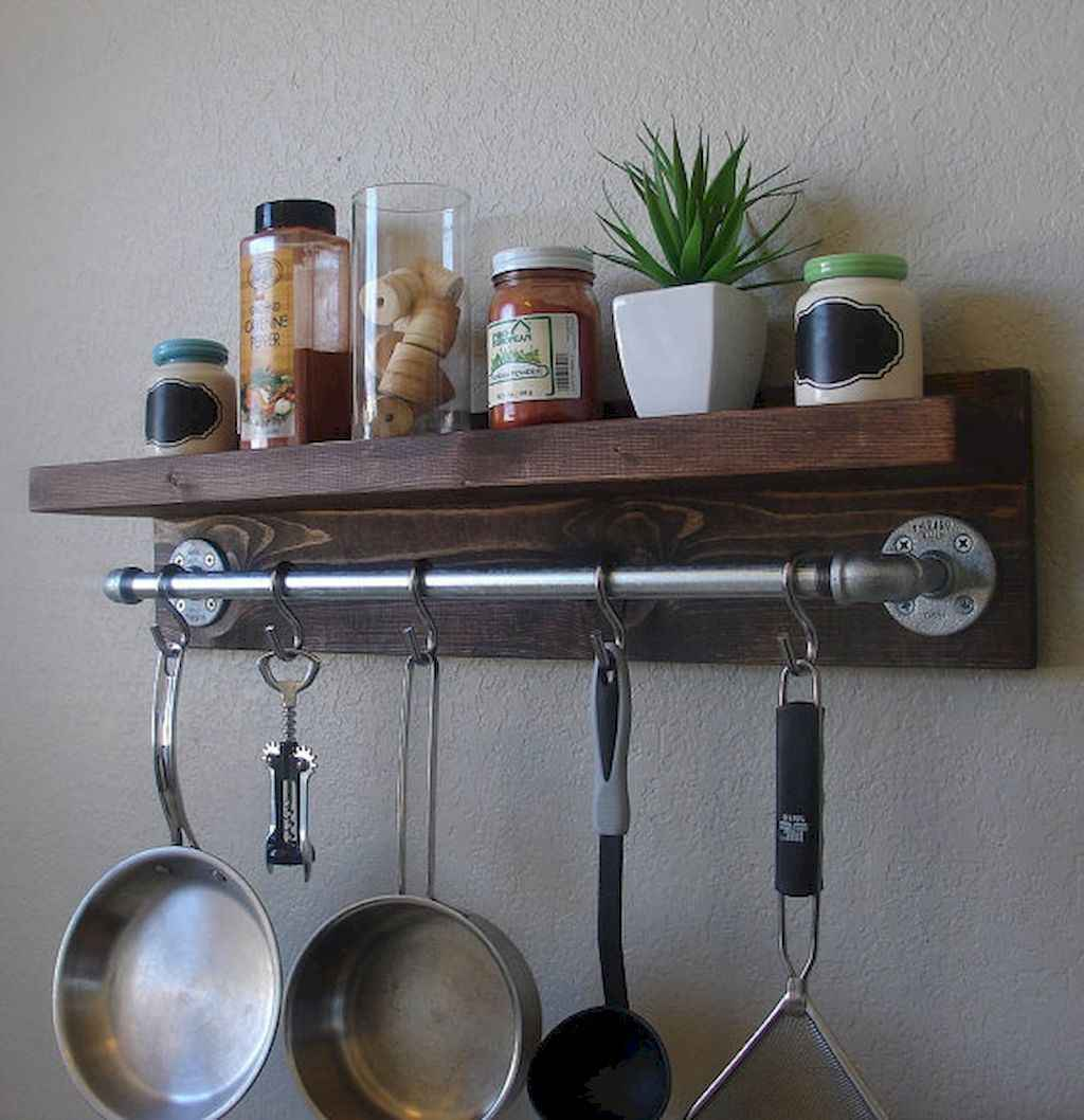 80 Incredible Hanging Rack Kitchen Decor Ideas (33)