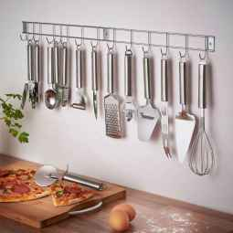 80 Incredible Hanging Rack Kitchen Decor Ideas (42)
