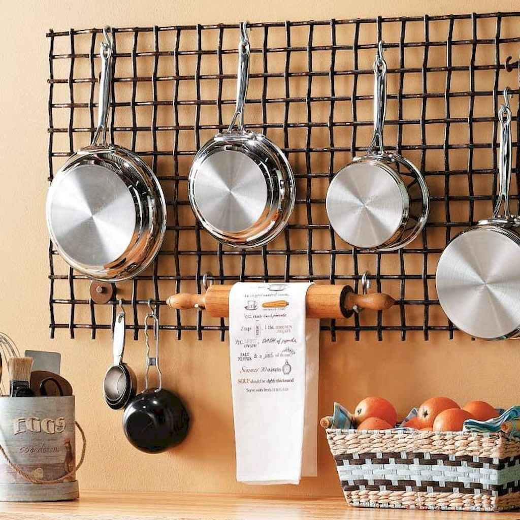 80 Incredible Hanging Rack Kitchen Decor Ideas (48)
