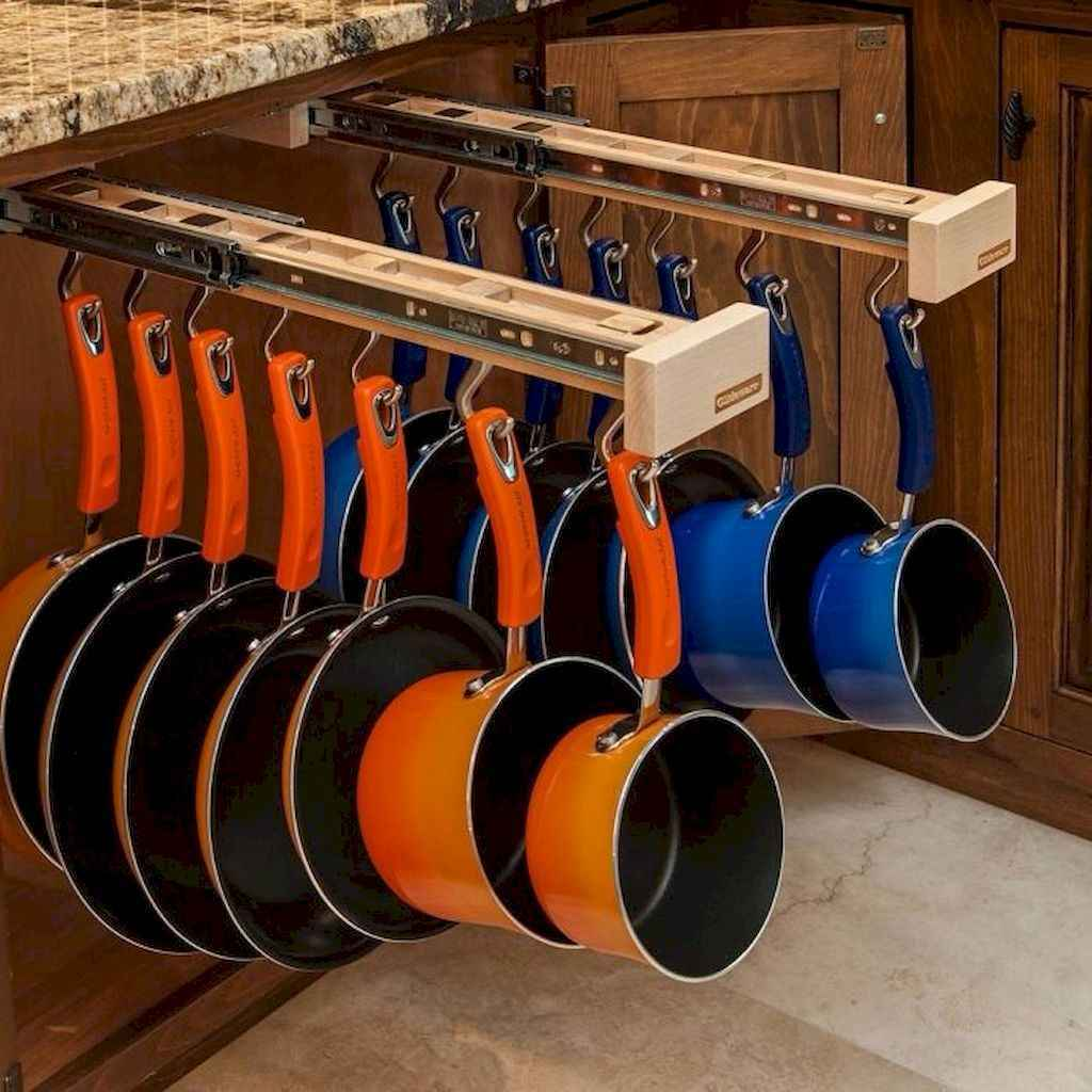 80 Incredible Hanging Rack Kitchen Decor Ideas (49)