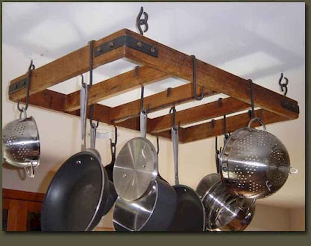80 Incredible Hanging Rack Kitchen Decor Ideas (57)