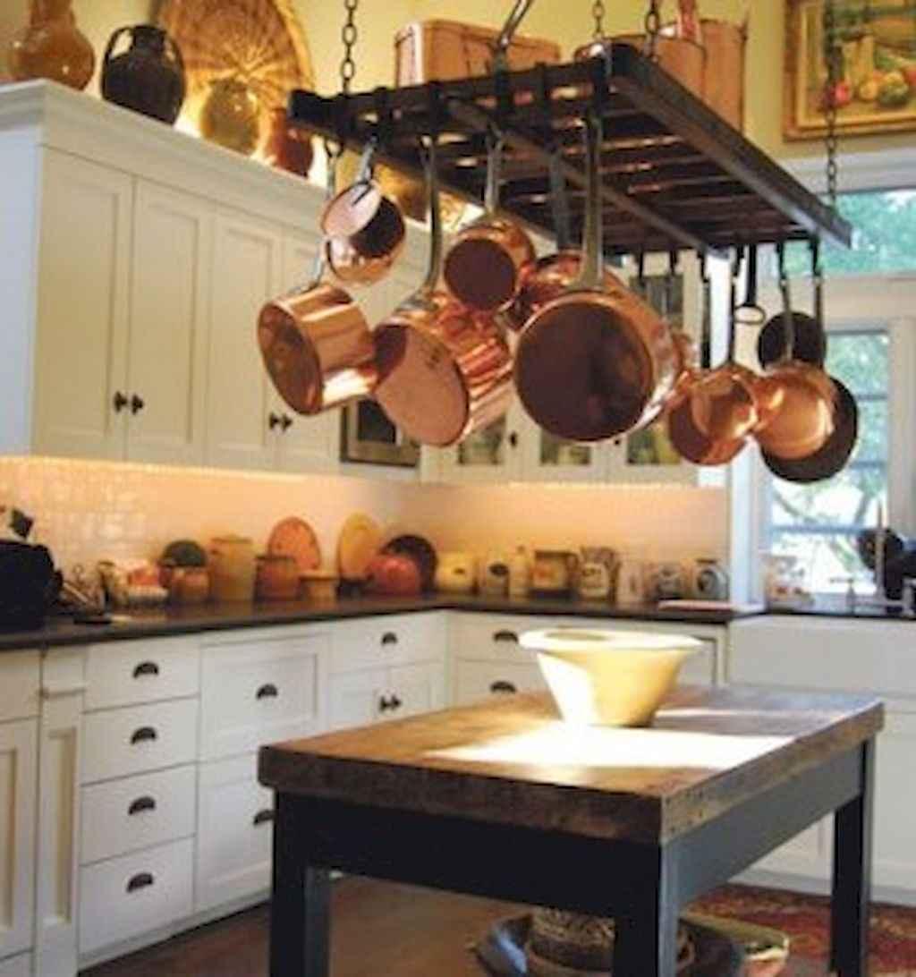 80 Incredible Hanging Rack Kitchen Decor Ideas (62)