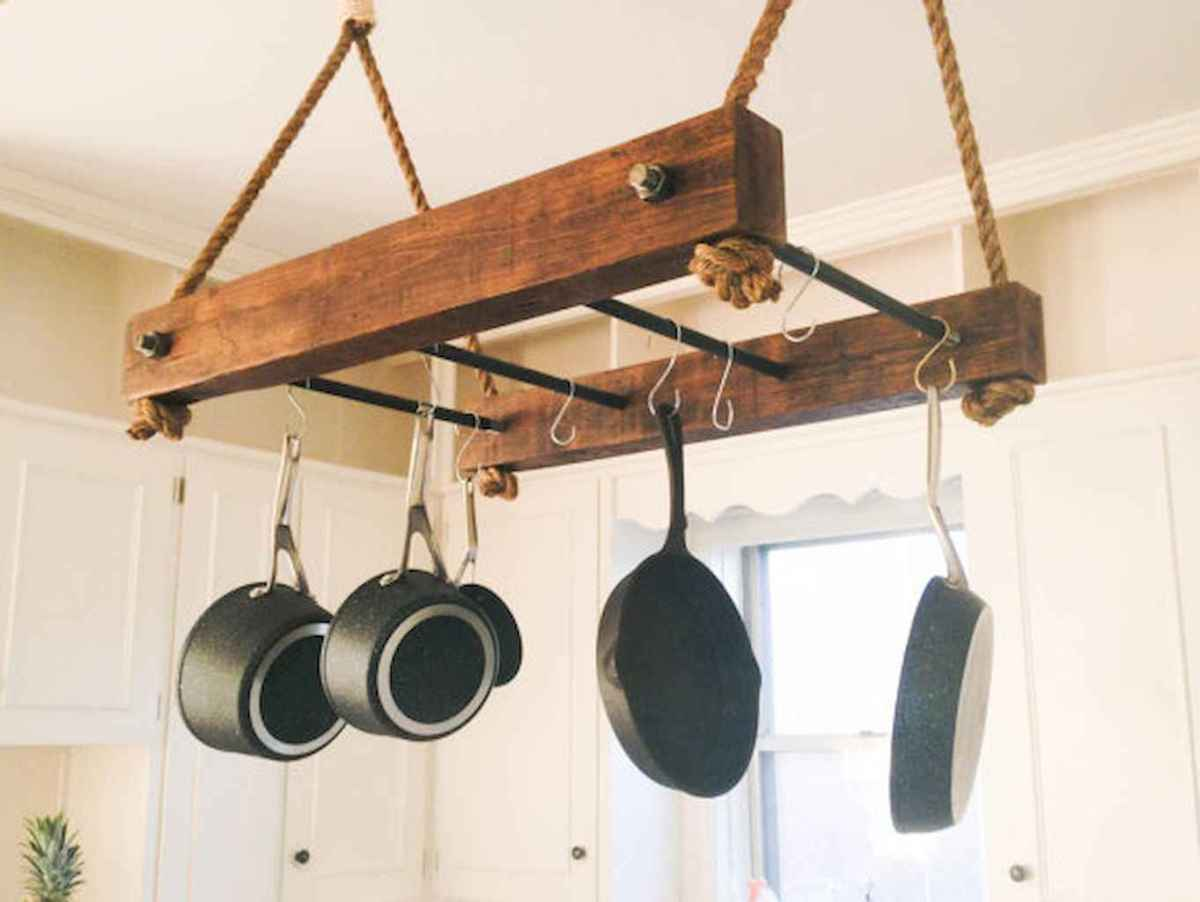 80 Incredible Hanging Rack Kitchen Decor Ideas (68)