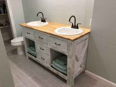 50 Stunning Farmhouse Bathroom Vanity Decor Ideas (19)