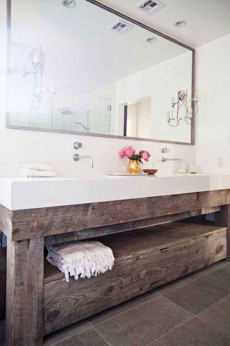 50 Amazing Farmhouse Bathroom Vanity Decor Ideas (25)