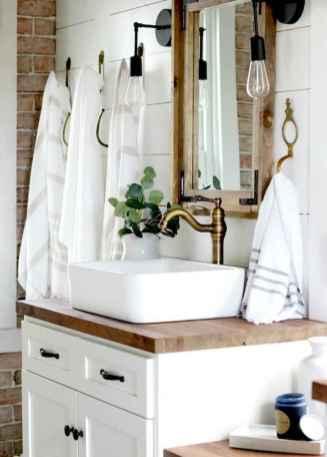 50 Amazing Farmhouse Bathroom Vanity Decor Ideas (45)