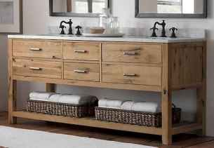 50 Amazing Farmhouse Bathroom Vanity Decor Ideas (63)