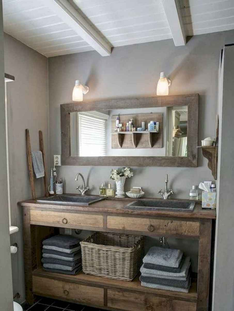 50 Amazing Farmhouse Bathroom Vanity Decor Ideas (88 ...