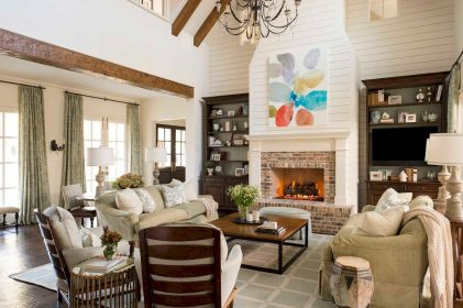 40 Awesome Farmhouse Fireplace Decor Ideas and Remodel (1)