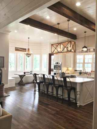80 Modern Farmhouse Kitchen Lighting Decor Ideas and Remodel (15)
