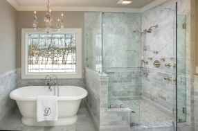 100 Farmhouse Bathroom Tile Shower Decor Ideas And Remodel To Inspiring Your Bathroom (32)