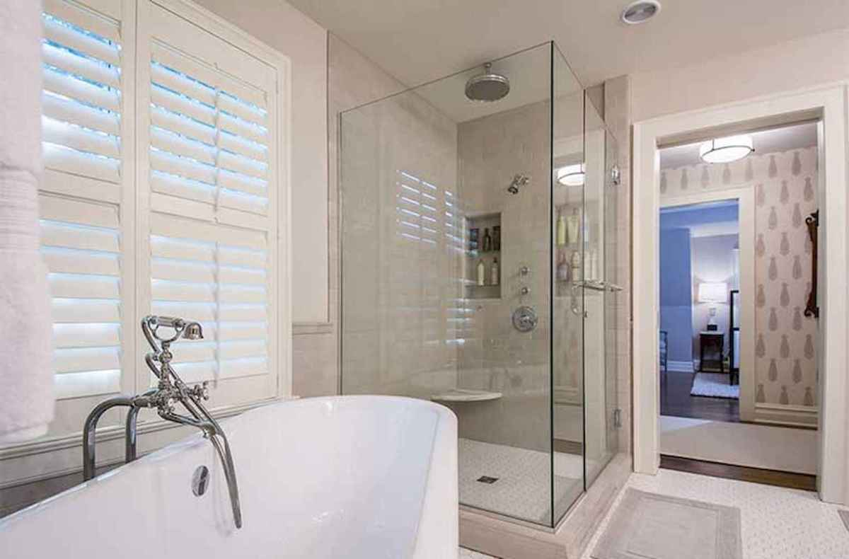 100 Farmhouse Bathroom Tile Shower Decor Ideas And Remodel To Inspiring Your Bathroom (42)
