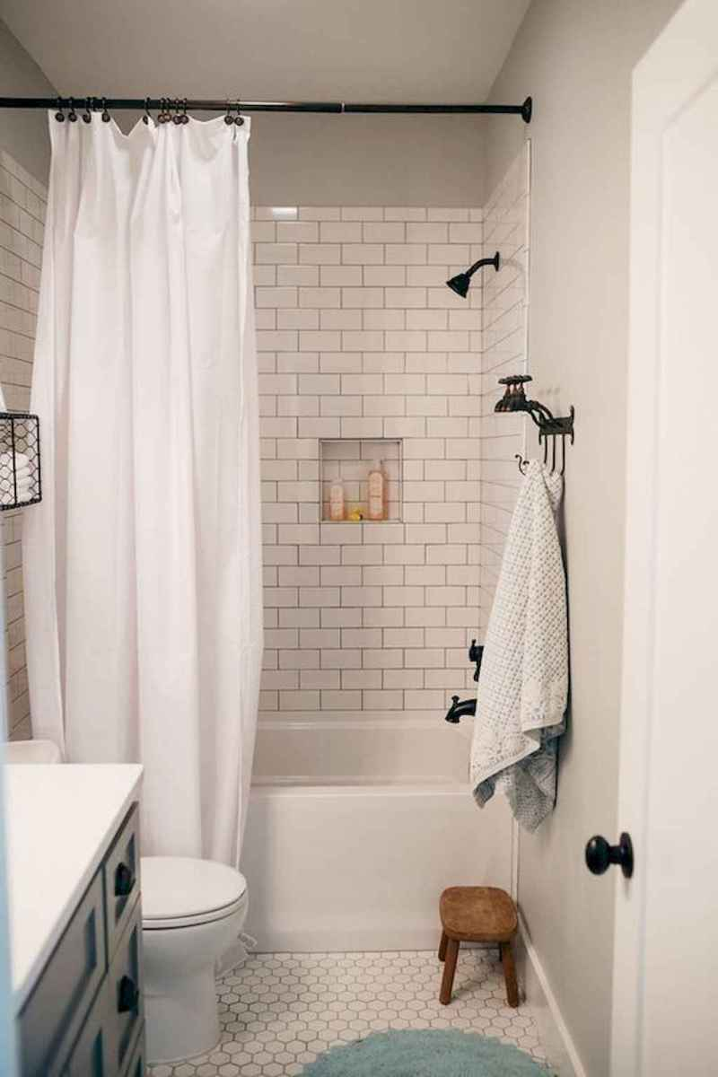 100 Farmhouse Bathroom Tile Shower Decor Ideas And Remodel To Inspiring Your Bathroom (65)