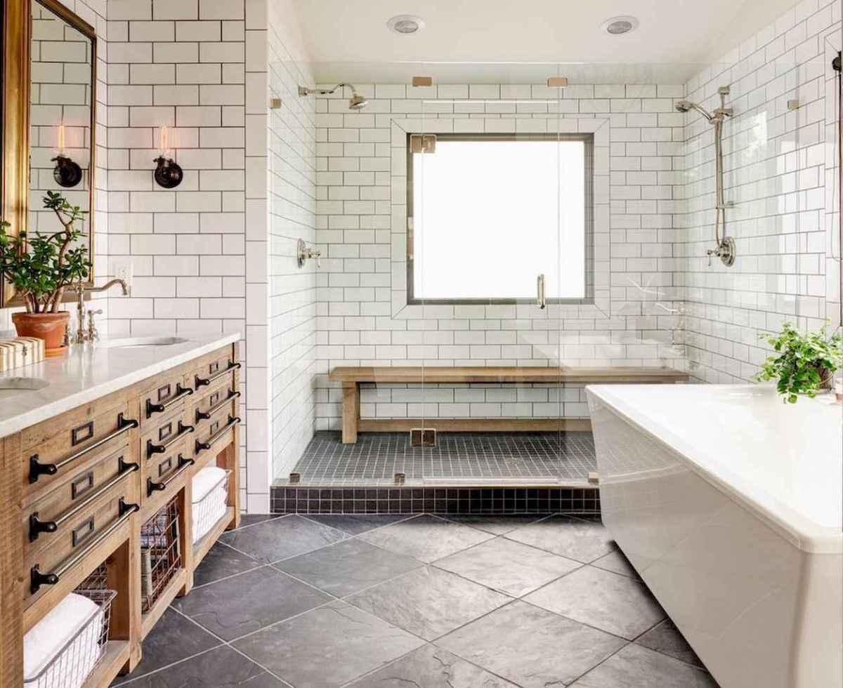 100 Farmhouse Bathroom Tile Shower Decor Ideas And Remodel To Inspiring Your Bathroom (91)