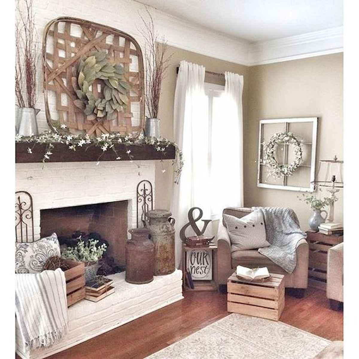 40 Awesome Fireplace Makeover For Farmhouse Home Decor (14)