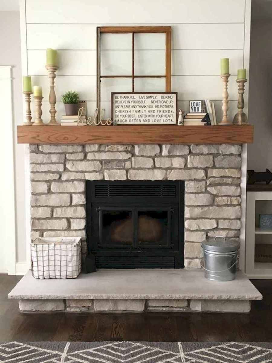 40 Best Modern Farmhouse Fireplace Mantel Decor Ideas (22)