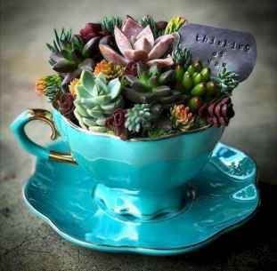 40 Easy DIY Teacup Mini Garden Ideas to Add Bliss to Your Home (19)