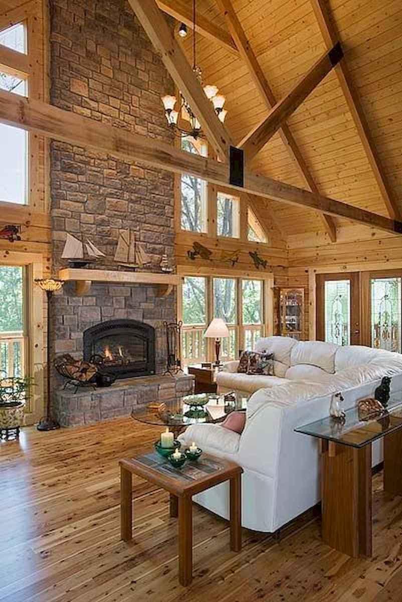 60 Stunning Log Cabin Homes Fireplace Design Ideas (12)