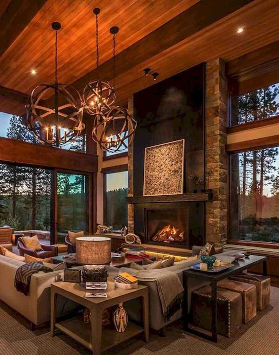 60 Stunning Log Cabin Homes Fireplace Design Ideas (13)