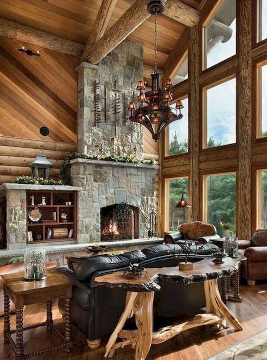 60 Stunning Log Cabin Homes Fireplace Design Ideas (14)