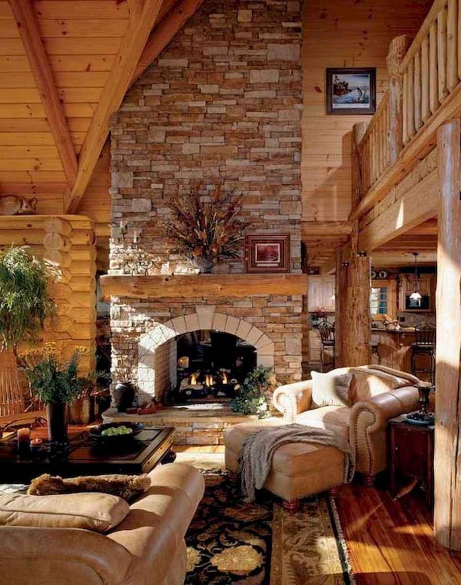 60 Stunning Log Cabin Homes Fireplace Design Ideas (19)