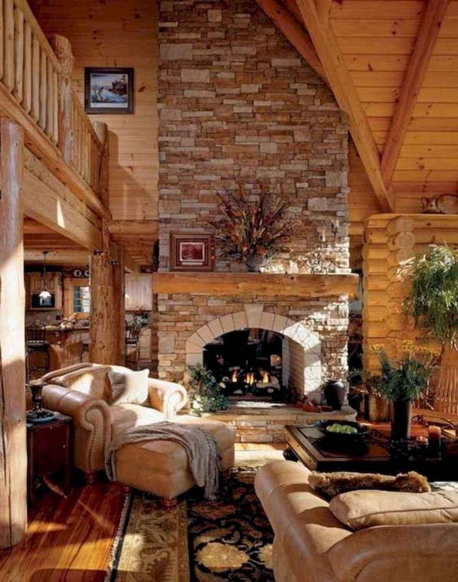 60 Stunning Log Cabin Homes Fireplace Design Ideas (24)