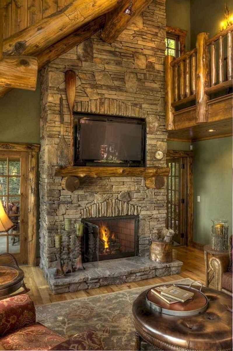 60 Stunning Log Cabin Homes Fireplace Design Ideas (30)