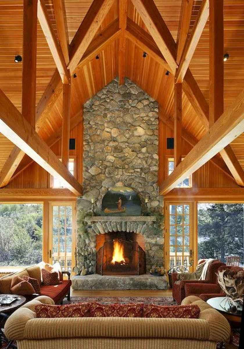 60 Stunning Log Cabin Homes Fireplace Design Ideas (31)