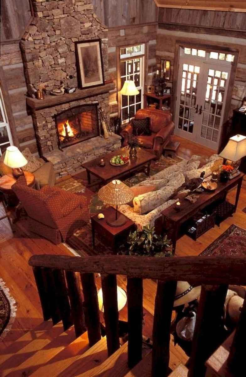 60 Stunning Log Cabin Homes Fireplace Design Ideas (36)