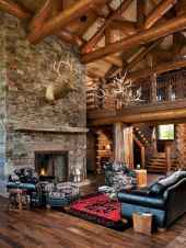 60 Stunning Log Cabin Homes Fireplace Design Ideas (41)