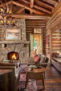 60 Stunning Log Cabin Homes Fireplace Design Ideas (45)