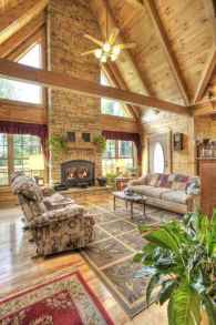 60 Stunning Log Cabin Homes Fireplace Design Ideas (46)