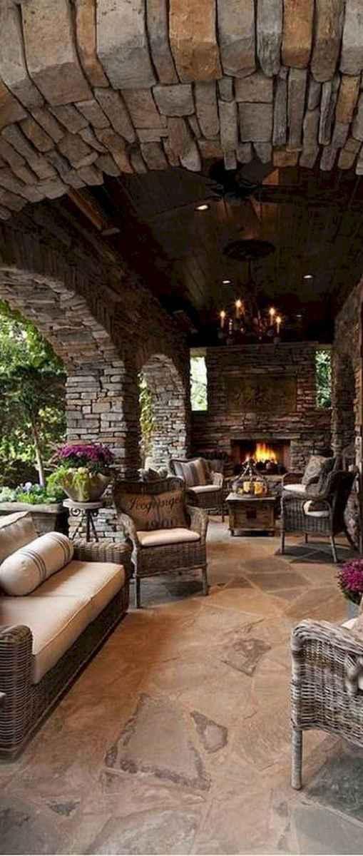 60 Stunning Log Cabin Homes Fireplace Design Ideas (49)